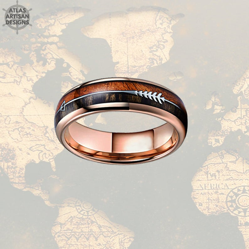 6mm Wood Wedding Bands Women Ring, 18K Rose Gold Arrow Ring, Koa Wood Ring Mens Wedding Band Tungsten Ring, Unique Mens Ring, Rose Gold Ring - Atlas Artisan Designs