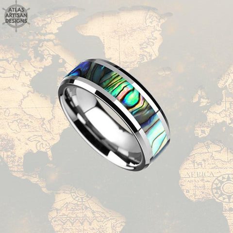 Image of Abalone Ring Mens Wedding Band Tungsten Ring, 8mm Tungsten Wedding Band Mens Ring Abalone Shell Ring Wedding Bands Women, Unique Mens Ring - Atlas Artisan Designs