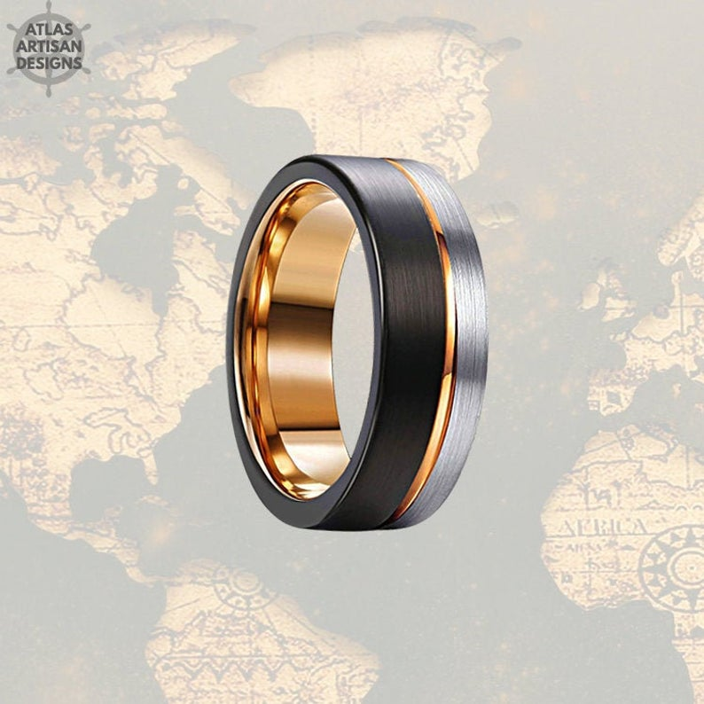 Silver & Black Tungsten Wedding Band Mens Ring, 8mm Mens Wedding Band Rose Gold Ring, Rose Gold Wedding Bands Womens Ring, Unique Mens Ring - Atlas Artisan Designs
