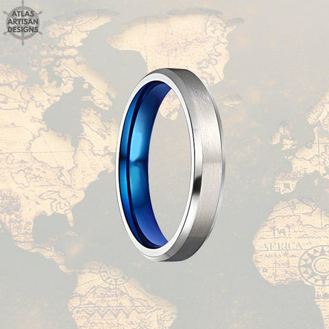 Image of 4mm Thin Titanium Rings Blue Titanium Ring Mens Wedding Band, Titanium Ring 4mm Titanium Wedding Bands Women Ring, Wedding Rings for Couples - Atlas Artisan Designs