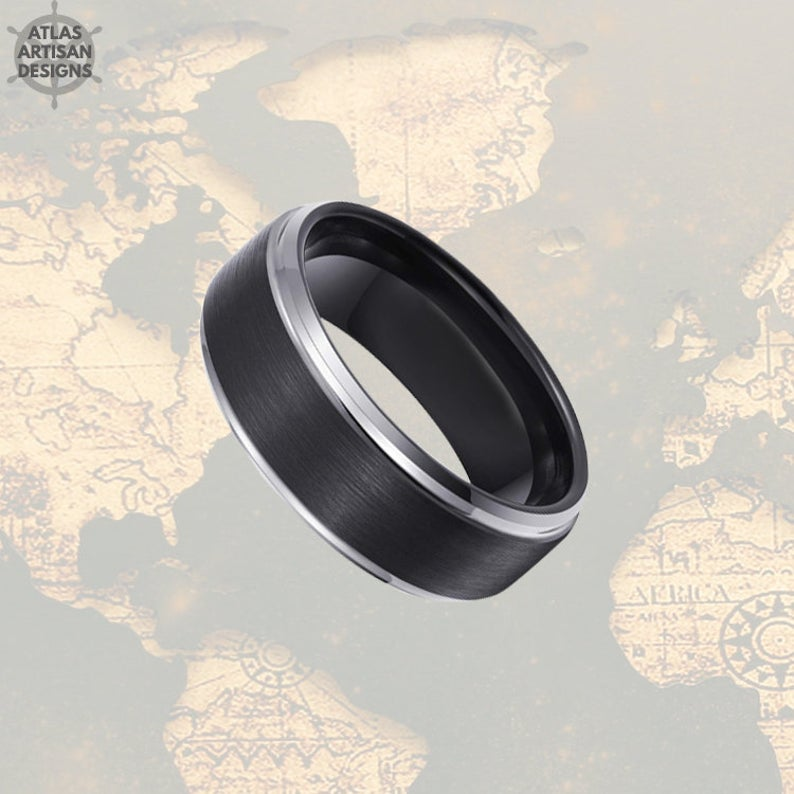 Black Tungsten Ring Mens Wedding Band Silver Step Edges, Tungsten Wedding Band Mens Ring, Mens Promise Ring, Unique Mens Ring, Wedding Ring - Atlas Artisan Designs