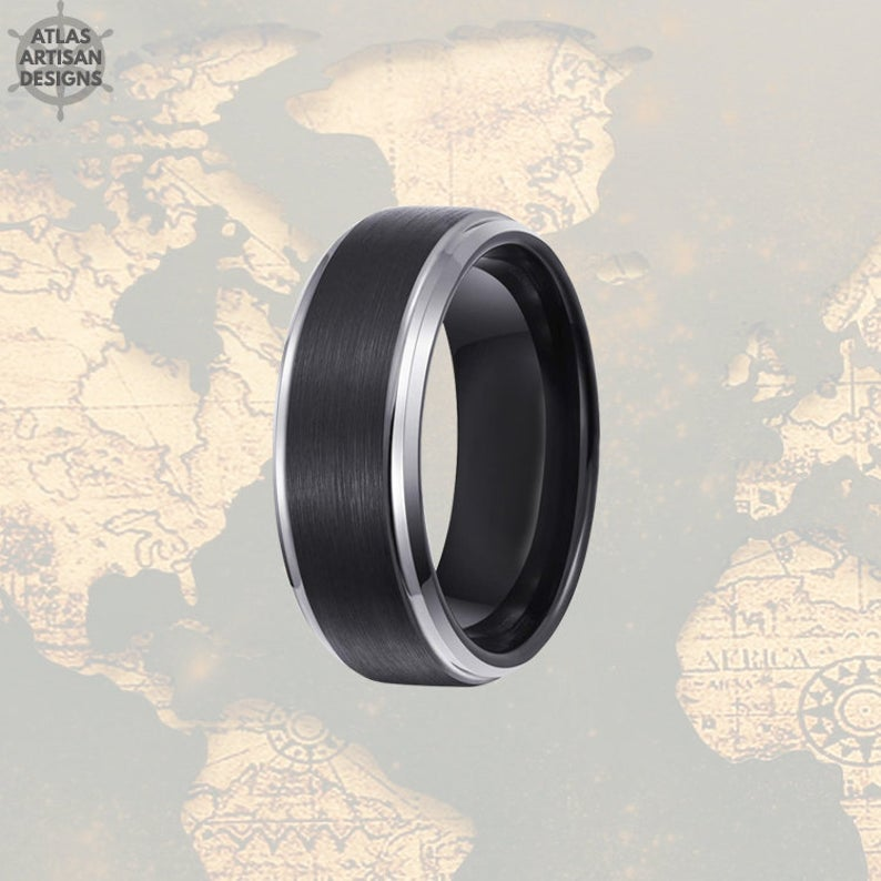 Silver Tungsten Ring Mens Wedding Band Black Step Edges, Tungsten Wedding Band Mens Ring, Mens Promise Ring, Unique Mens Ring, Wedding Ring -