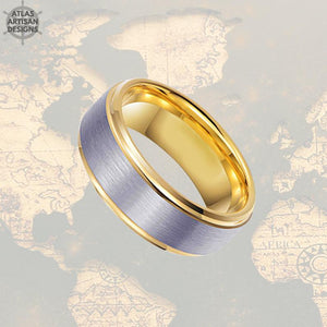 14K Gold Ring Mens Wedding Band Tungsten Ring Step Edges, Tungsten Wedding Band Mens Ring, Promise Ring, Unique Mens Ring, Gold Wedding Ring