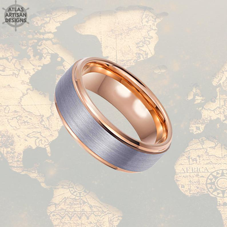 Rose Gold Ring with Step Edges Mens Wedding Band Tungsten Ring, 8mm Unique Mens Ring, Rose Gold Wedding Bands Womens Ring, Mens Promise Ring - Atlas Artisan Designs