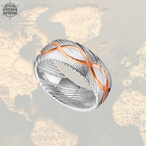 18K Rose Gold Damascus Ring Mens Wedding Band - Atlas Artisan Designs