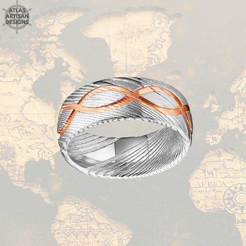 Image of 18K Rose Gold Damascus Ring Mens Wedding Band - Atlas Artisan Designs