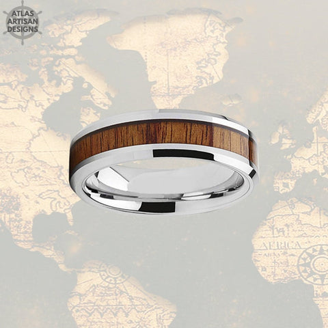 Image of 6mm Koa Wood Ring Mens Wedding Band Silver Tungsten Wedding Band Mens Ring, Wood Wedding Band, Mens Wood Ring Unique Mens Ring Bevel Edges - Atlas Artisan Designs