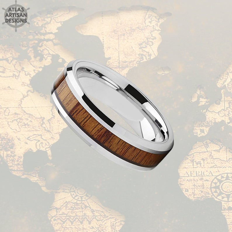 6mm Koa Wood Ring Mens Wedding Band Silver Tungsten Wedding Band Mens Ring, Wood Wedding Band, Mens Wood Ring Unique Mens Ring Bevel Edges - Atlas Artisan Designs