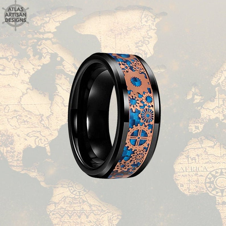 Viking Wedding Ring Mens Black Ring, Rose Gold Ring Mens Wedding Band Tungsten Ring, Blue Carbon Fiber Ring, Tungsten Wedding Band Mens Ring - Atlas Artisan Designs