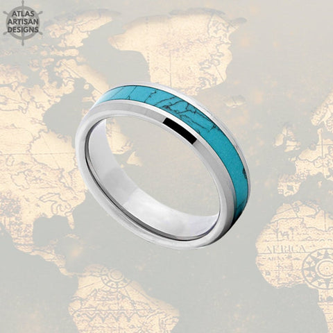 6mm Turquoise Wedding Bands Womens Ring Turquoise Inlay Ring Beveled Turquoise Ring Mens Wedding Band Silver Tungsten Ring, Unique Mens Ring