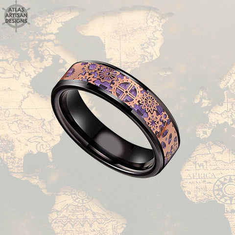 Image of 6mm Rose Gold Wedding Band Steampunk Ring Black & Purple Ring Mens Wedding Band Tungsten Ring, Purple Carbon Fiber Ring Mechanical Mens Ring - Atlas Artisan Designs