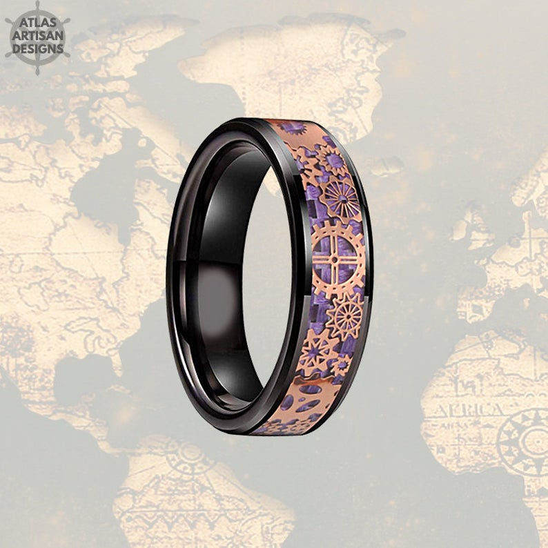 6mm Rose Gold Wedding Band Steampunk Ring Black & Purple Ring Mens Wedding Band Tungsten Ring, Purple Carbon Fiber Ring Mechanical Mens Ring - Atlas Artisan Designs