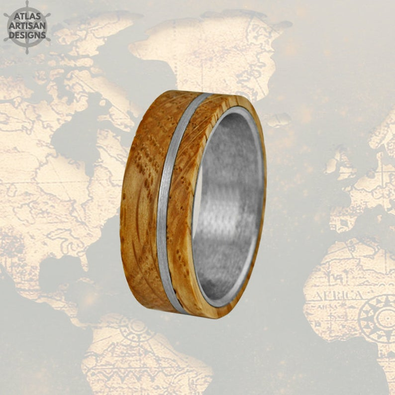 Gunmetal Whiskey Barrel Ring Mens Wedding Band Wood Ring, Unique Tungsten Wedding Band Mens Ring, Whiskey Ring 8mm Whiskey Wood Wedding Band - Atlas Artisan Designs
