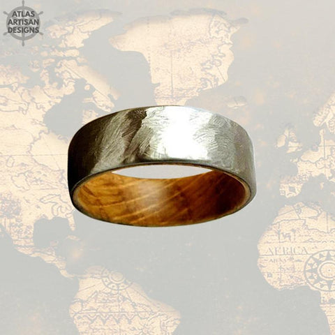 Image of Hammered Whiskey Barrel Ring Mens Wedding Band Wood Ring, Silver Wedding Band Mens Ring, Whisky Barrel Ring Wood Wedding Band Hammered Ring - Atlas Artisan Designs