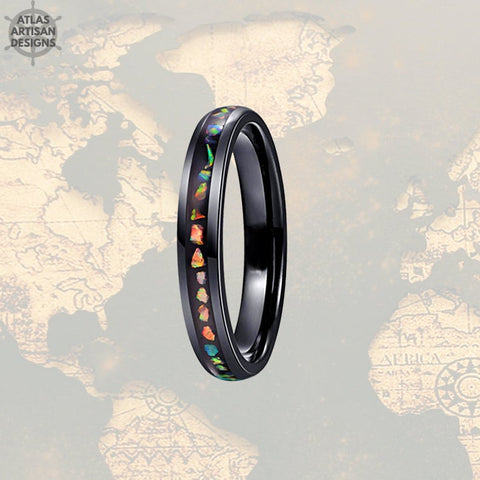 4mm Fire Opal Ring Mens Wedding Band Opal Inlay Ring, Tungsten Wedding Band Mens Ring, Opal Wedding Bands Womens Ring, Womens Wedding Band - Atlas Artisan Designs
