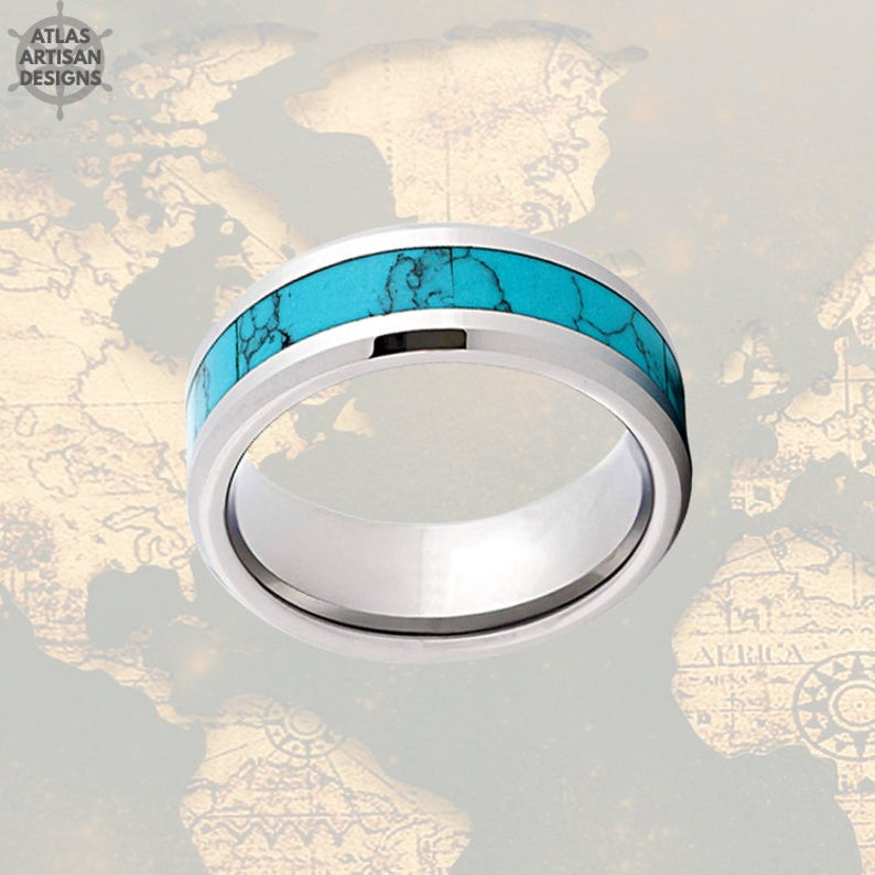 Beveled Turquoise Ring Mens Wedding Band Silver Tungsten Ring, Unique Mens Ring, Turquoise Wedding Bands Womens Ring Turquoise Inlay Ring - Atlas Artisan Designs