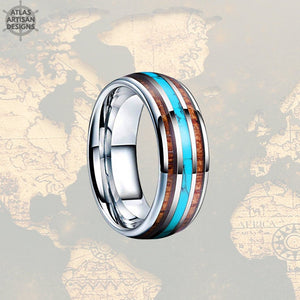 Mens Turquoise Ring Tungsten Wedding Band Viking Ring, 8mm Unique Koa Wood Ring Mens Wedding Band Turquoise Inlay Ring, Silver Wooden Ring - Atlas Artisan Designs