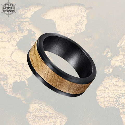 Image of Black Whiskey Barrel Ring 8mm Pipe Cut Mens Wedding Band Wood Ring, Bourbon Barrel Wedding Band Mens Ring, Whiskey Barrel Wood Inlay Ring - Atlas Artisan Designs