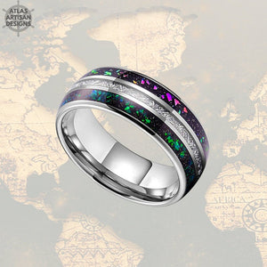 Blue Opal & Meteorite Ring Mens Wedding Band, 8mm Green Opal Ring Tungsten Wedding Band Mens Ring, Meteorite Wedding Bands Women Unique Ring