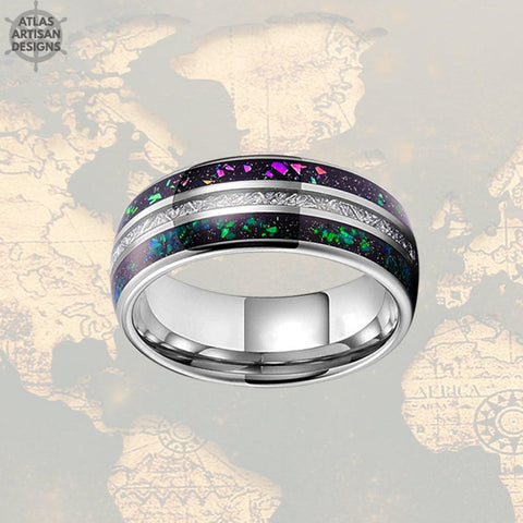 Image of Blue Opal & Meteorite Ring Mens Wedding Band, 8mm Green Opal Ring Tungsten Wedding Band Mens Ring, Meteorite Wedding Bands Women Unique Ring