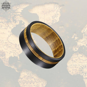 8mm Whiskey Barrel Ring Mens Offset Wood Inlay Ring, Black Tungsten Wedding Band Wooden Ring