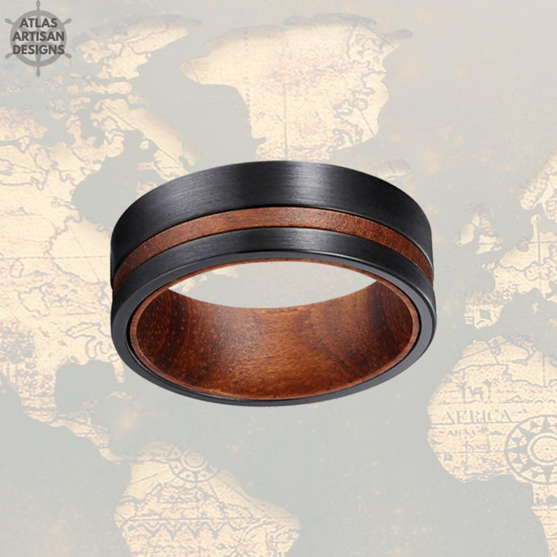 Rose Wood Ring Mens Wedding Band Tungsten Ring with Offset Groove, 8mm Black Tungsten Wedding Band Mens Ring, Unique Wood Wedding Band - Atlas Artisan Designs