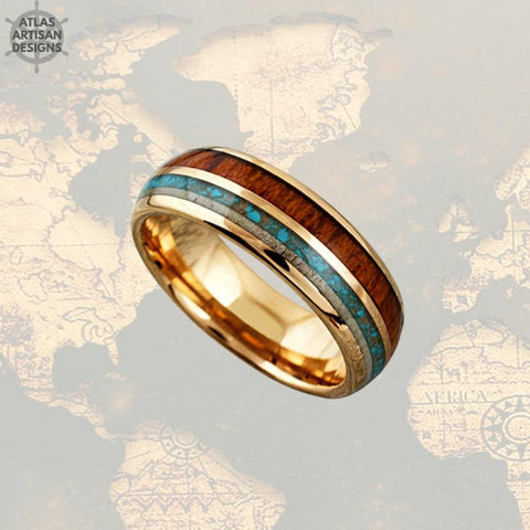 Image of 18K Rose Gold Mens Turquoise Ring Wood Wedding Band Deer Antler Ring, Unique Koa Wood Ring Mens Wedding Band Tungsten Ring with Antler Inlay