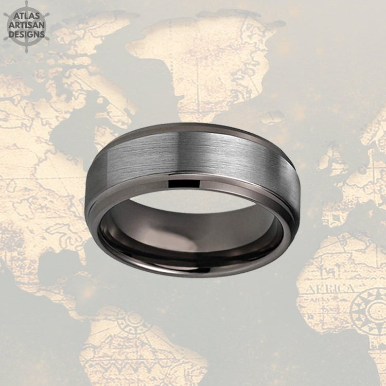 Step Edges Gunmetal Ring Mens Wedding Band Tungsten Ring, Male Wedding Band Silver Couples Ring Set Tungsten Wedding Band Mens Promise Ring - Atlas Artisan Designs