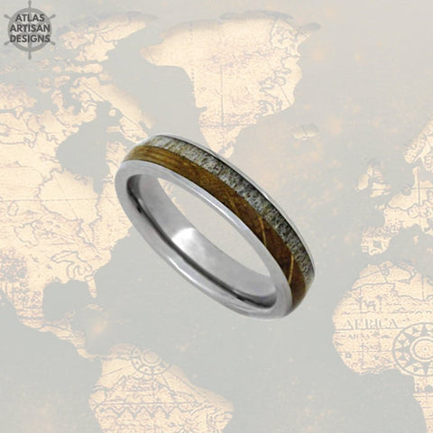 Image of 6mm Whiskey Barrel Ring Mens Wedding Band Tungsten Ring Deer Antler Ring Tungsten Wedding Band Mens Ring, Wood Wedding Band Mens Nature Ring