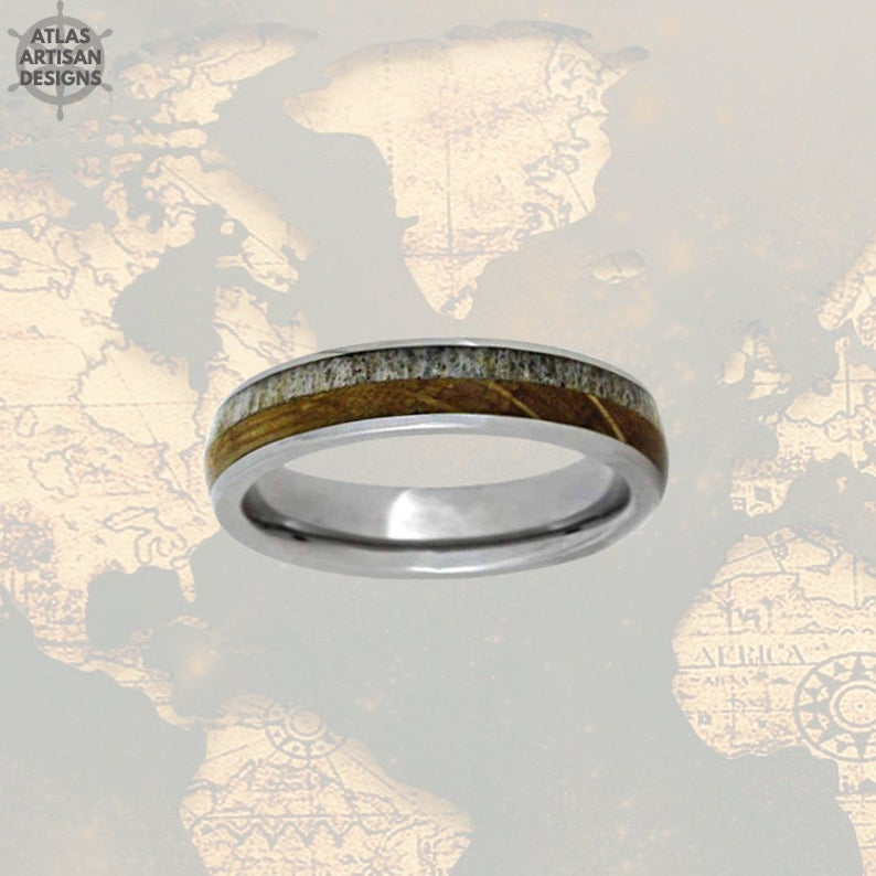6mm Whiskey Barrel Ring Mens Wedding Band Tungsten Ring Deer Antler Ring Tungsten Wedding Band Mens Ring, Wood Wedding Band Mens Nature Ring - Atlas Artisan Designs