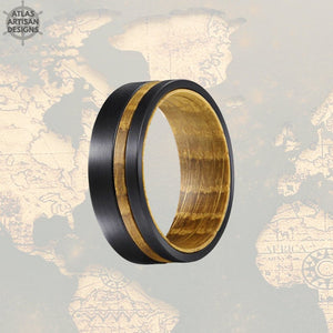 8mm Whiskey Barrel Ring Mens Offset Wood Inlay Ring, Black Tungsten Wedding Band Wooden Ring - Atlas Artisan Designs