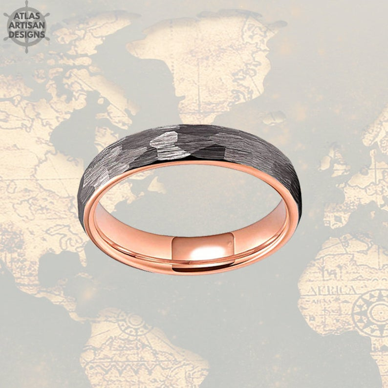 Thin Rose Gold Ring Womens Wedding Band Tungsten Ring, 6mm Hammered Ring, 18K Rose Gold Wedding Band Mens Ring Norse Ring, Couples Ring Set - Atlas Artisan Designs