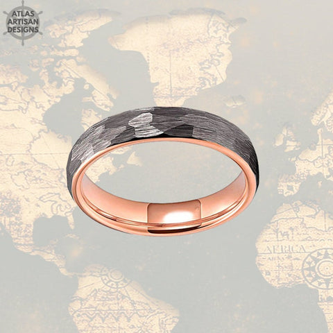 Image of Thin Rose Gold Ring Womens Wedding Band Tungsten Ring, 6mm Hammered Ring, 18K Rose Gold Wedding Band Mens Ring Norse Ring, Couples Ring Set - Atlas Artisan Designs