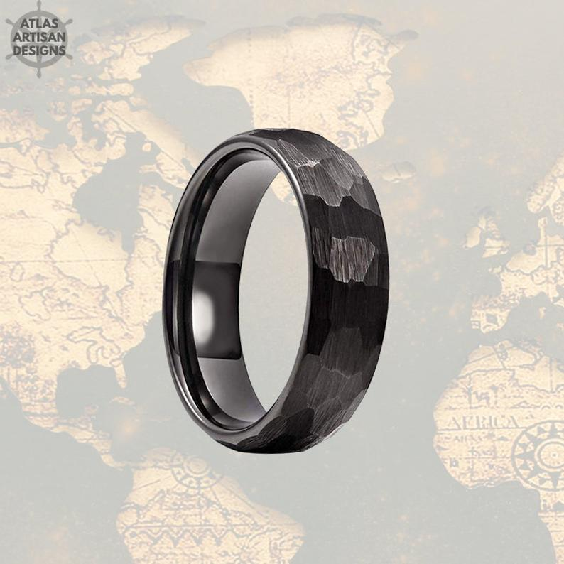 6mm Black Hammered Ring Womens Wedding Band Tungsten Ring, Mens Wedding Band Viking Ring, Couples Ring Set Unique Wedding Ring for Couples - Atlas Artisan Designs