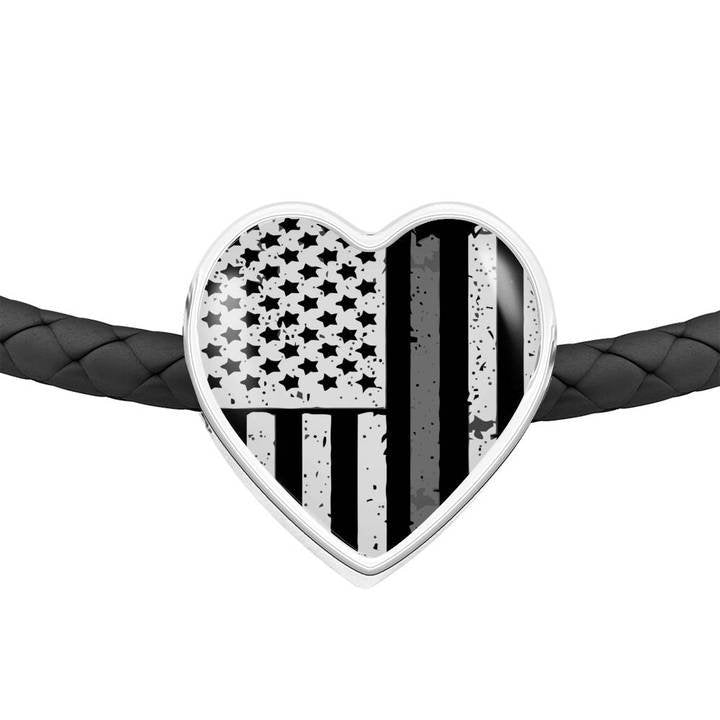 Thin Silver Line Gifts - Gift for Corrections Officer Wife - Leather Thin Silver Line Bracelet - Gift for Corrections Officer - Prison Guard - Atlas Artisan Designs