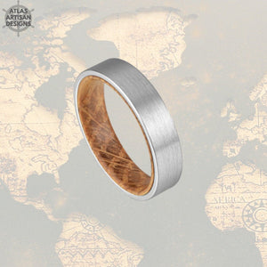 6mm Whiskey Barrel Ring Silver Tungsten Wedding Band Mens Ring, Comfort Fit Unique Mens Wedding Band Wood Ring, Whiskey Wooden Ring for Men -