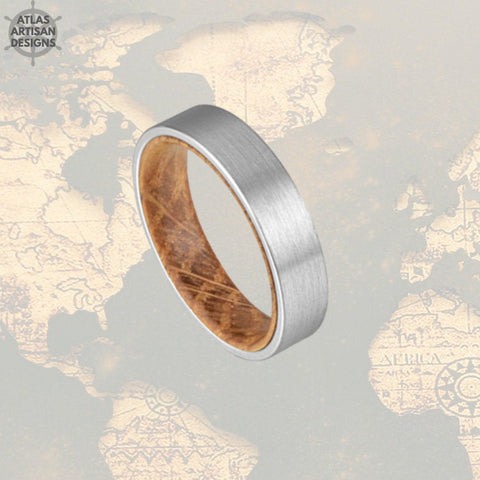 6mm Whiskey Barrel Ring Silver Tungsten Wedding Band Mens Ring, Comfort Fit Unique Mens Wedding Band Wood Ring, Whiskey Wooden Ring for Men - Atlas Artisan Designs