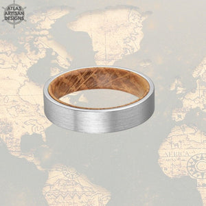6mm Whiskey Barrel Ring Silver Tungsten Wedding Band Mens Ring, Comfort Fit Unique Mens Wedding Band Wood Ring, Whiskey Wooden Ring for Men