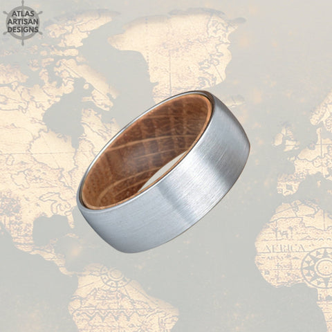 Unique Mens Wedding Band Wood Ring, 8mm Tungsten Carbide Whiskey Barrel Ring Silver Tungsten Wedding Band Mens Ring, Whiskey Wooden Ring - Atlas Artisan Designs