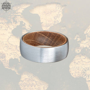Unique Mens Wedding Band Wood Ring, 8mm Tungsten Carbide Whiskey Barrel Ring Silver Tungsten Wedding Band Mens Ring, Whiskey Wooden Ring