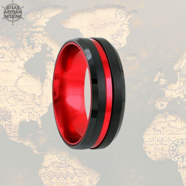 Red & Black Tungsten Ring Mens Wedding Band, Thin Red Line Gifts, Mens Promise Ring, Tungsten Wedding Band Mens Ring, Firefighter Gift - Atlas Artisan Designs