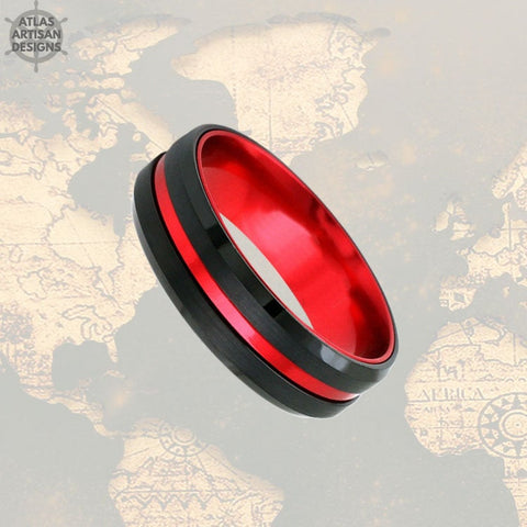 Image of 6mm Tungsten Wedding Band Mens Ring, Black & Red Tungsten Ring Mens Wedding Band, Thin Red Line Gifts, Firefighter Gift Unique Couples Ring - Atlas Artisan Designs