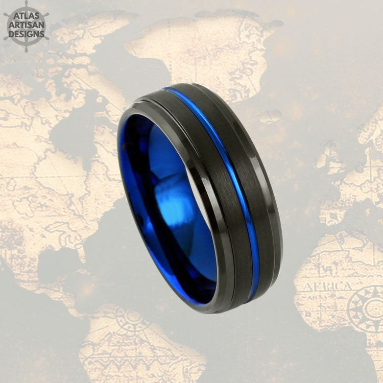 6mm Tungsten Wedding Band Mens Ring, Couples Ring Black & Blue Tungsten Ring Mens Wedding Band, Thin Blue Line Gifts, Police Officer Gifts - Atlas Artisan Designs
