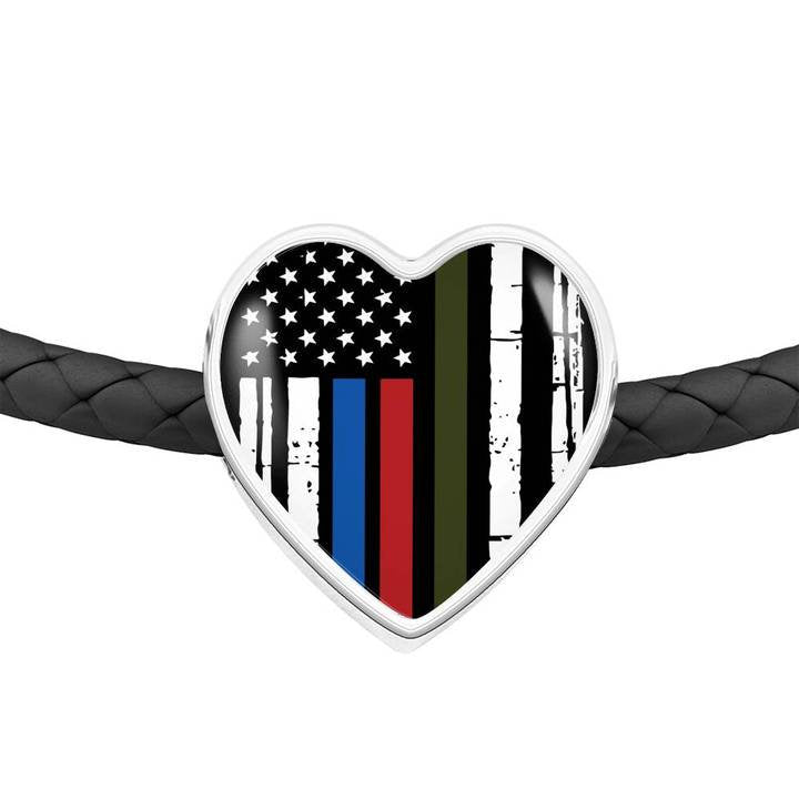 Thin Blue Line Gifts, USA Flag Firefighter Bracelet, Gift for Police Wife, Thin Red Line Gift, Leather USA Bracelet, Police Officer Gifts - Atlas Artisan Designs