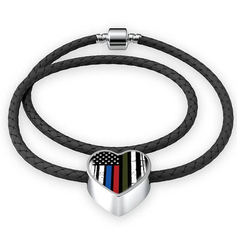 Image of Thin Blue Line Gifts, USA Flag Firefighter Bracelet, Gift for Police Wife, Thin Red Line Gift, Leather USA Bracelet, Police Officer Gifts - Atlas Artisan Designs