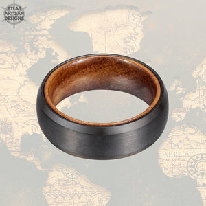 Koa Wood Ring Mens Wedding Band Black Tungsten Wedding Band Mens Ring, Wood Inlay Ring, Wood Wedding Band with Beveled Edges, Promise Ring