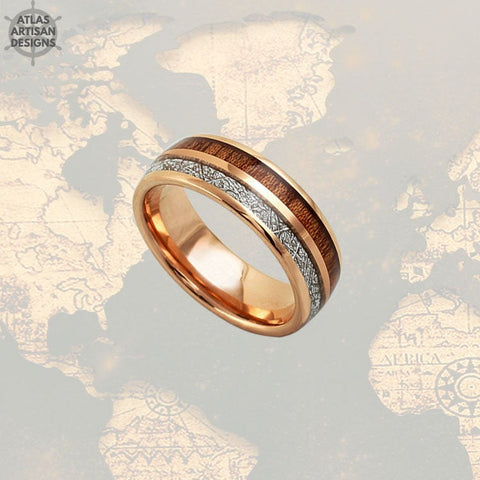 Image of Meteorite Rose Gold Ring Mens Wedding Band Koa Wood Ring, Wood Wedding Band Mens Ring, Rose Gold Meteorite Wedding Rings Unique Wood Rings - Atlas Artisan Designs