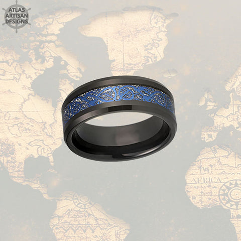 Image of Viking Wedding Band Mens Ring, Blue Meteorite Ring with Celtic Inlay, Black Dragon Ring Mens Wedding Band Celtic Ring, Tungsten Viking Ring - Atlas Artisan Designs