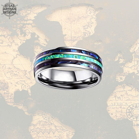 Image of Opal & Abalone Ring Mens Wedding Band, Green Opal Ring Tungsten Wedding Band Mens Ring, Abalone Shell Ring, Opal Wedding Bands Womens Ring -