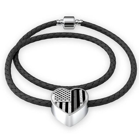 Image of Thin Silver Line Gifts - Gift for Corrections Officer Wife - Leather Thin Silver Line Bracelet - Gift for Corrections Officer - Prison Guard - Atlas Artisan Designs
